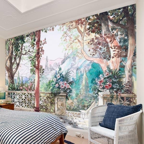 Mural en vinilo paisaje en acuarela 3