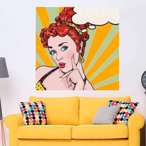Adhesivo pop art mujer