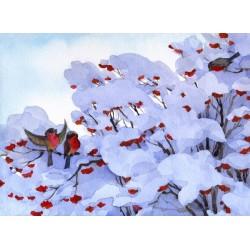Fotomural pájaros en la nieve