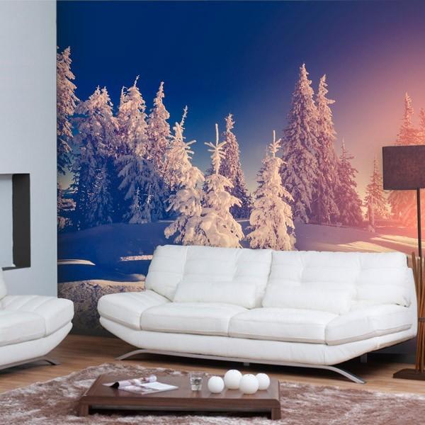 Mural árboles de blanco 1