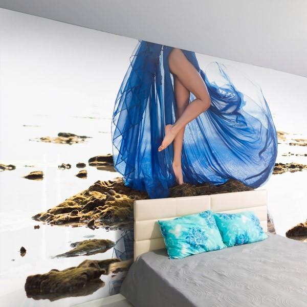 Fotomural mujer de vestido azul