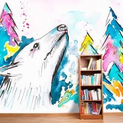 Mural en vinilo lobo acuarela