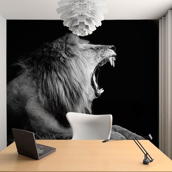 Mural en vinilo de león