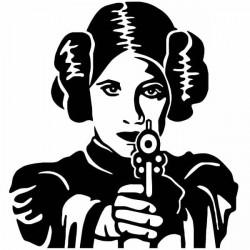 Adhesivo princesa Leia