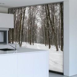 Mural nieve en el bosque