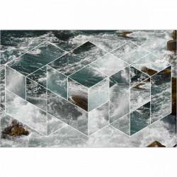 Alfombra vinílica olas geométricas