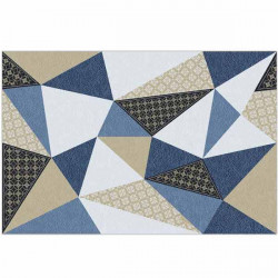 Alfombra de vinilo triángulos azul y negro
