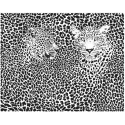 Mural pareja de leopardos