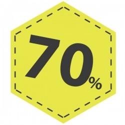 Adhesivo descuento 70 en amarillo