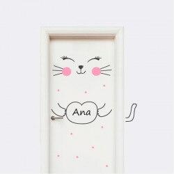Vinilo para puertas gatito