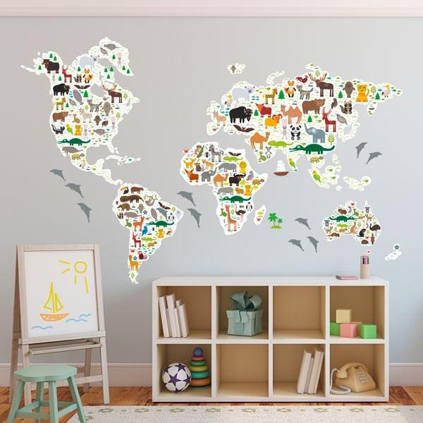 Vinilo mapamundi con animales goodvinilos for Vinilos dormitorio bebe