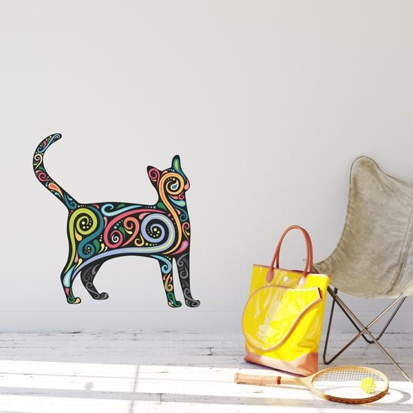 Adhesivo gato abstracto