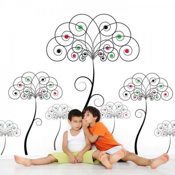Vinilo de pared árbol de colores