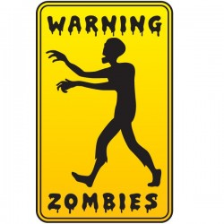 Vinilo warning zombies
