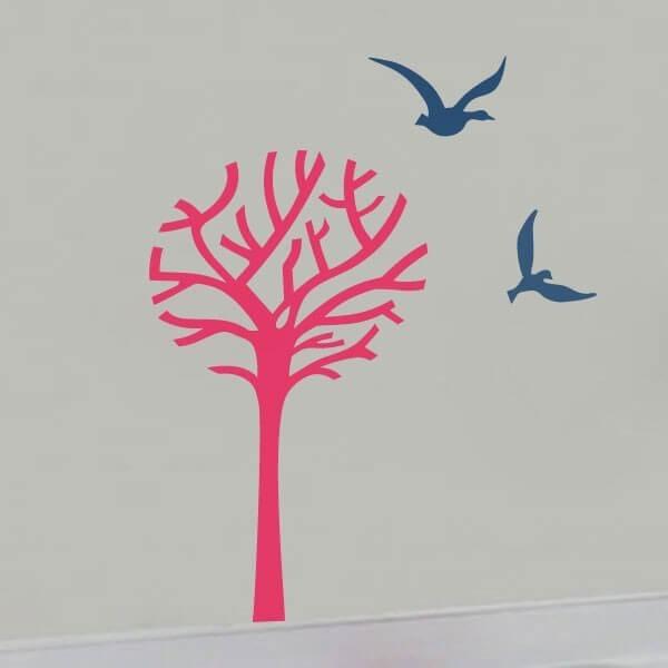 Vinilo decorativo árbol y gaviotas