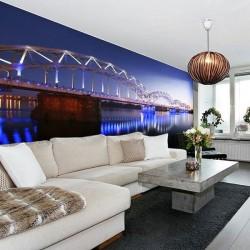 Mural de puente iluminado