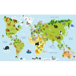 Fotomural mapa con animales