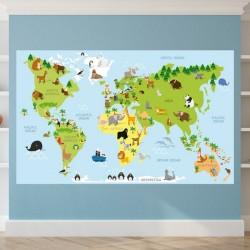 Fotomural mapa con animales