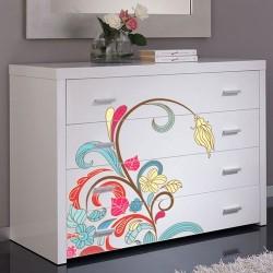 Vinilo muebles flor multicolor
