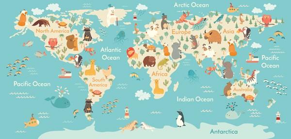 Mapa Del Mundo Infantil.Fotomural Mapa Mundo Infantil