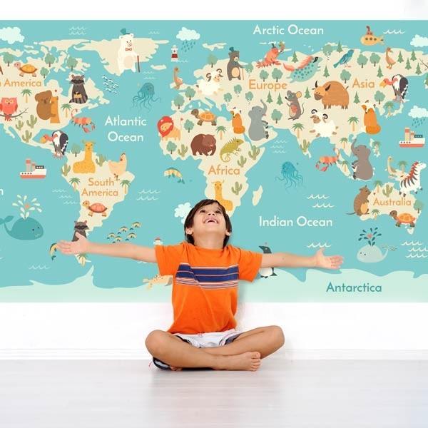 Fotomural mapa mundo infantil