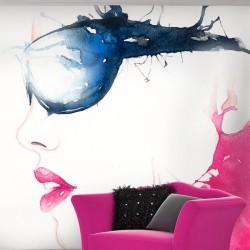 Mural mujer de gafas