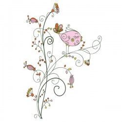 Adhesivo infantil pájaro rosa