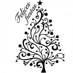 Vinilo árbol felices fiestas