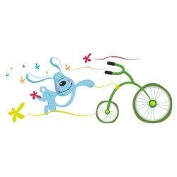 Vinilo infantil conejo con bici