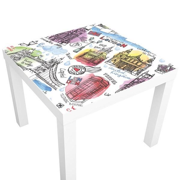 Vinilo mesa ikea londres ilustrado for Mesa cristal mapamundi