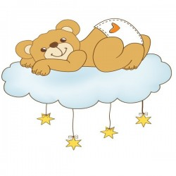 Vinilo bebé de oso con nube