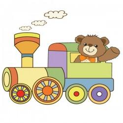 Vinilo bebé oso en tren