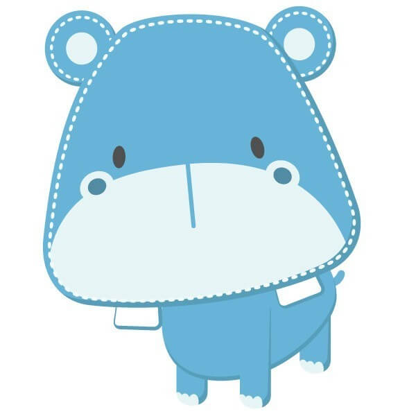 Adhesivo bebé de hipopótamo