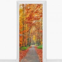 Vinilo decorativo puerta árboles